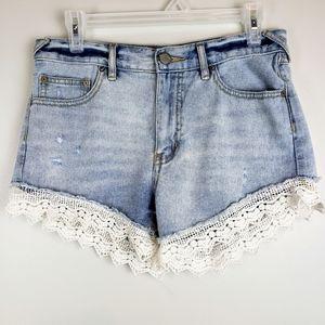 Free People sz 26 cotton denim lace shorts